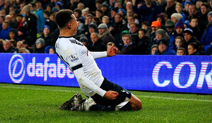 Dele Alli celebrates scoring against Everton