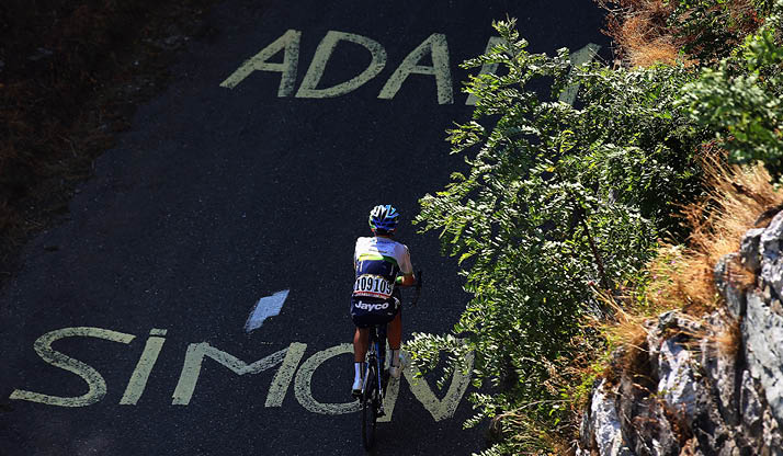 Support for Adam and Simon Yates is written on the road
