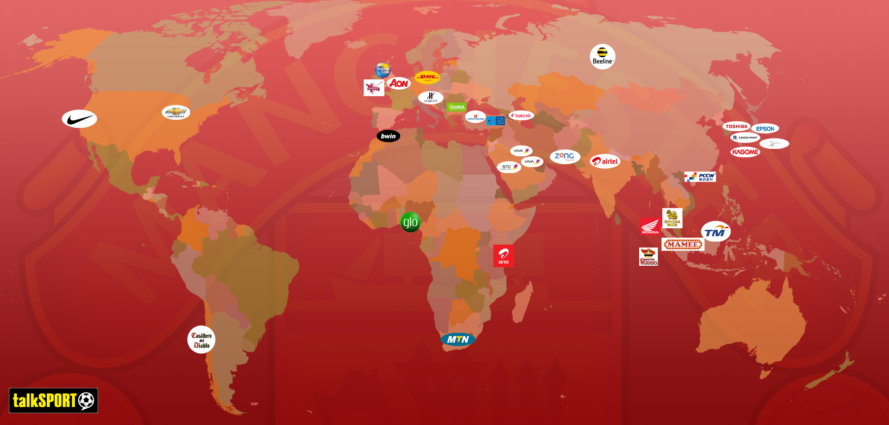 Map proving man uniteds global domination all 33 sponsors hq click to enlarge man united map gumiabroncs Gallery